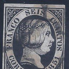 Sellos: EDIFIL 6. ISABEL II. AÑO 1851. MATASELLOS DE ARAÑA NEGRA. NEGRO MUY INTENSO. LUJO.. Lote 263091870