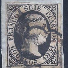 Francobolli: EDIFIL 6. ISABEL II. AÑO 1851. PRECIOSO MATASELLOS DE ARAÑA NEGRA. LUJO.. Lote 266572258