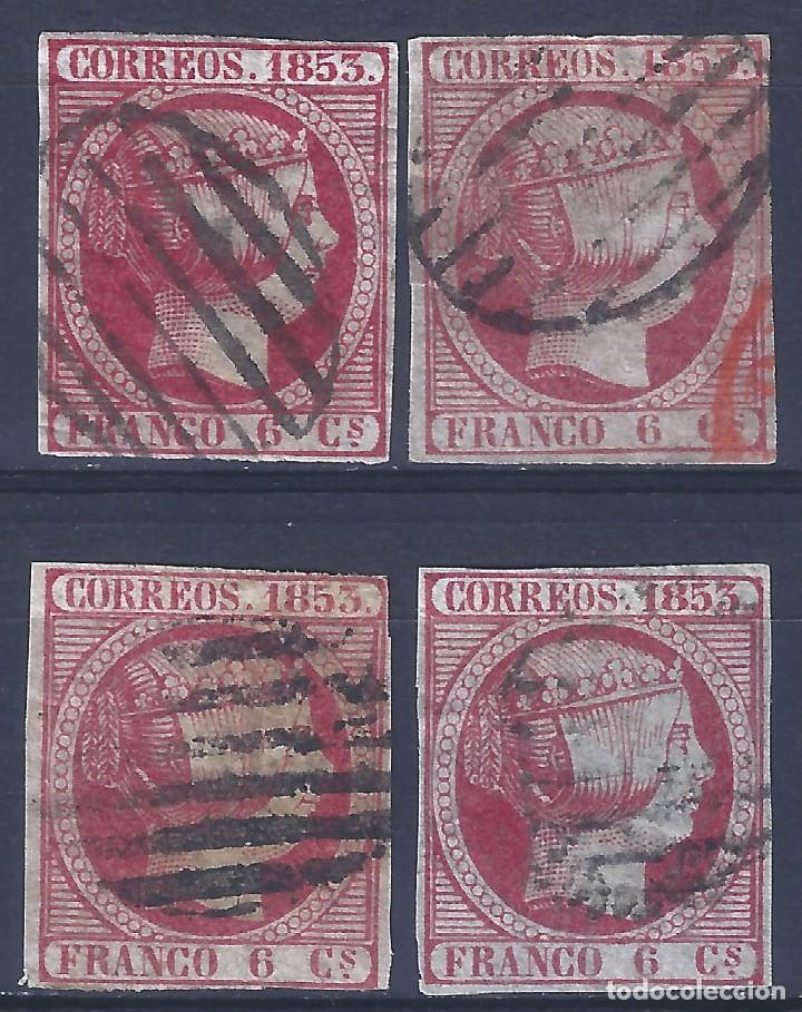 EDIFIL 17 ISABEL II AÑO 1853. MATASELLOS PARRILLA NEGRA. LOTE DE 4 SELLOS. LUJO. (Sellos - España - Isabel II de 1.850 a 1.869 - Usados)