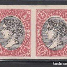 Sellos: ESPAÑA, ENSAYOS DE COLOR, 1865 GALVEZ Nº 331, 12 CU. ROSA CARM. Y NEGRO, PAREJA SIN DENTAR. Lote 266951149