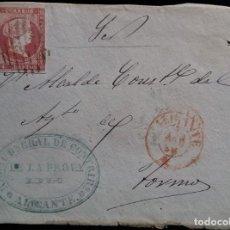 Sellos: ISABEL II ALICANTE RECAUDACIÓN GENERAL DE CONTRIBUCIONES 1856 FRONTAL. Lote 267501074