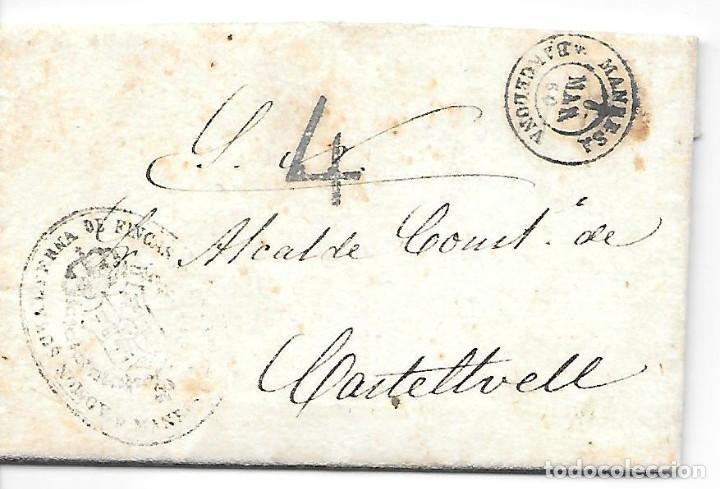 ENVUELTA CON TEXTO DE MANRESA A CASTELLTVELL 4 DE PORTEO 1860 (Sellos - España - Isabel II de 1.850 a 1.869 - Cartas)