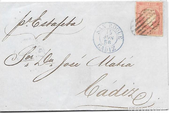 EDIFIL 48. ENVUELTA CIRCULADA DE SAN ROQUE A CADIZ POR ESTAFETA 1856 (Sellos - España - Isabel II de 1.850 a 1.869 - Cartas)