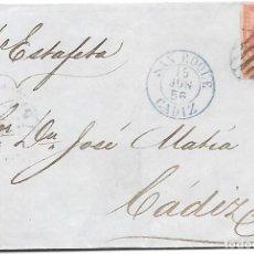 Sellos: EDIFIL 48. ENVUELTA CIRCULADA DE SAN ROQUE A CADIZ POR ESTAFETA 1856. Lote 267721599
