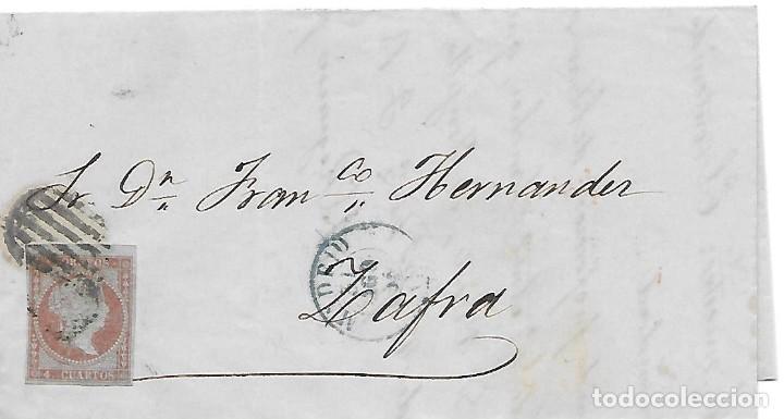 FRAUDE AL CORREO EDIFIL 40. ENVUELTA CIRCULADA DE MADRID A ZAFRA EMPLEANDO UN SELLO REUTILIZADO 1855 (Sellos - España - Isabel II de 1.850 a 1.869 - Cartas)
