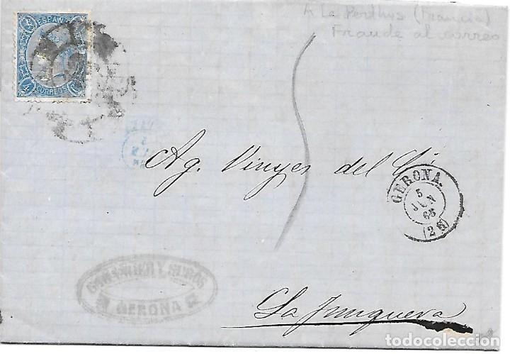 EDIFIL 75. ENVUELTA CIRCULADA DE GERONA A LA JUNQUERA FRAUDE AL CORREO 1865 (Sellos - España - Isabel II de 1.850 a 1.869 - Cartas)