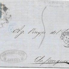 Sellos: EDIFIL 75. ENVUELTA CIRCULADA DE GERONA A LA JUNQUERA FRAUDE AL CORREO 1865. Lote 267723849
