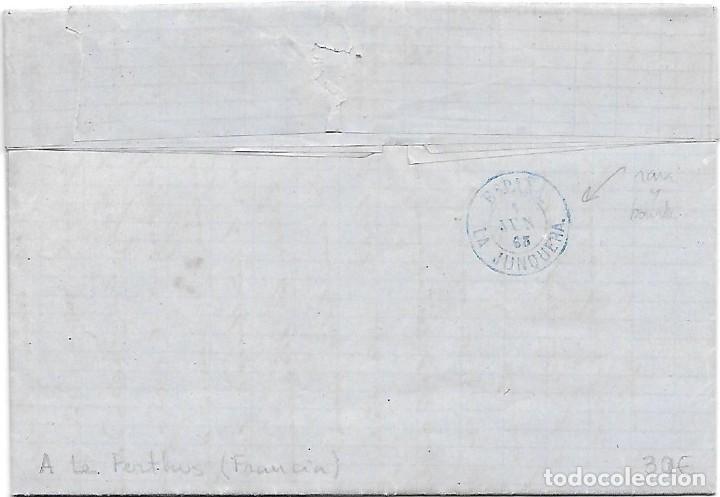 Sellos: EDIFIL 75. ENVUELTA CIRCULADA DE GERONA A LA JUNQUERA FRAUDE AL CORREO 1865 - Foto 2 - 267723849