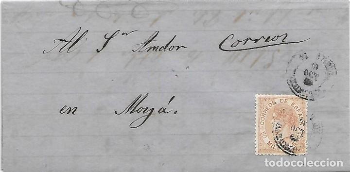 EDIFIL 96. ENVUELTA CIRCULADA DE SABADELL AL CARTERO DE MOLLA ANOTADO CORREOS 1868 (Sellos - España - Isabel II de 1.850 a 1.869 - Cartas)