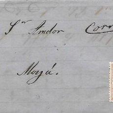 Sellos: EDIFIL 96. ENVUELTA CIRCULADA DE SABADELL AL CARTERO DE MOLLA ANOTADO CORREOS 1868. Lote 267725964