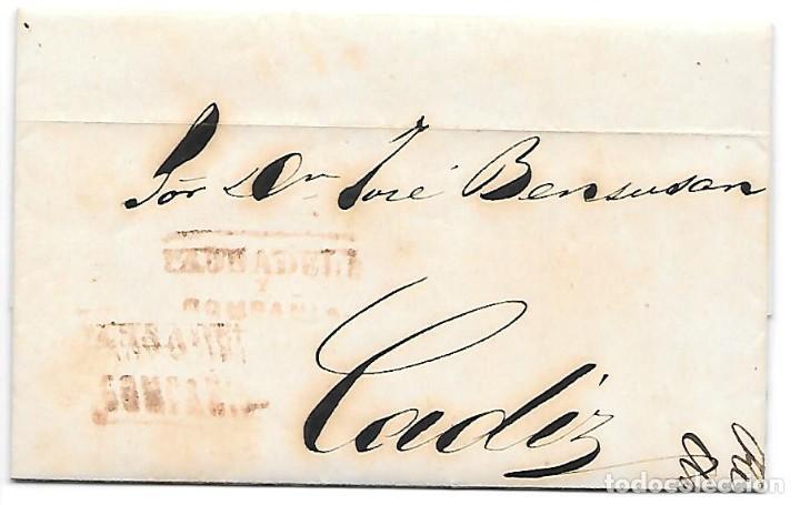 COSARIO PAUSADELA ENVUELTA CIRCULADA DE JEREZ A CADIZ 1857 (Sellos - España - Isabel II de 1.850 a 1.869 - Cartas)