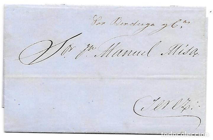 COSARIO BERDUGO ENVUELTA CIRCULADA DE CADIZ A JEREZ 1861 (Sellos - España - Isabel II de 1.850 a 1.869 - Cartas)