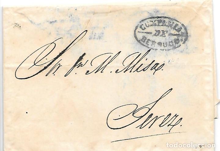COSARIO BERDUGO ENVUELTA CIRCULADA DE CADIZ A JEREZ 1856 (Sellos - España - Isabel II de 1.850 a 1.869 - Cartas)