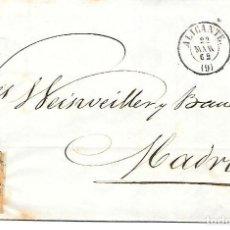 Sellos: EDIFIL 52. ENVUELTA DE ALICANTE A MADRID RUEDA DE CARRETA Nº 9 1862. Lote 267732149