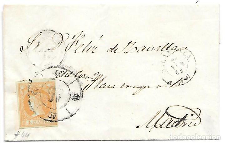 EDIFIL 52. ENVUELTA DE SALAMANCA A MADRID RUEDA DE CARRETA Nº 40 1862 (Sellos - España - Isabel II de 1.850 a 1.869 - Cartas)