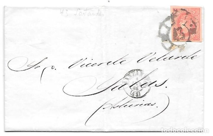 EDIFIL 64. ENVUELTA DE SANTANDER A SALAS RUEDA DE CARRETA Nº 43 1864 (Sellos - España - Isabel II de 1.850 a 1.869 - Cartas)