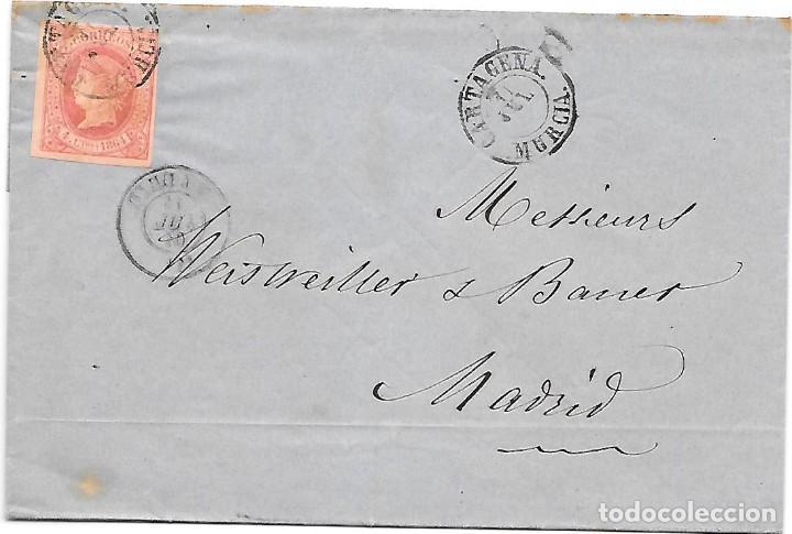 EDIFIL 64. ENVUELTA DE CARTAGENA A MADRID 1864 (Sellos - España - Isabel II de 1.850 a 1.869 - Cartas)
