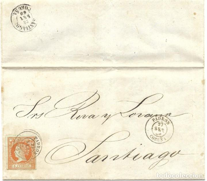 1860 (20 SEP) CARTA COMPLETA PADRON, CORUÑA. FECH TIPO II. SOBRE 4C.EMISIÓN ISABEL II 1860 (Sellos - España - Isabel II de 1.850 a 1.869 - Cartas)