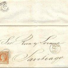 Sellos: 1860 (20 SEP) CARTA COMPLETA PADRON, CORUÑA. FECH TIPO II. SOBRE 4C.EMISIÓN ISABEL II 1860. Lote 267821539