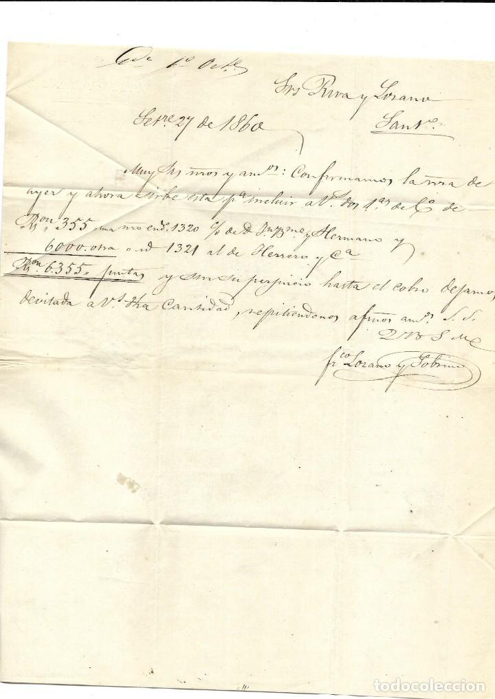 Sellos: 1860 (20 Sep) CARTA COMPLETA PADRON, CORUÑA. FECH TIPO II. SOBRE 4c.emisión ISABEL II 1860 - Foto 2 - 267821539