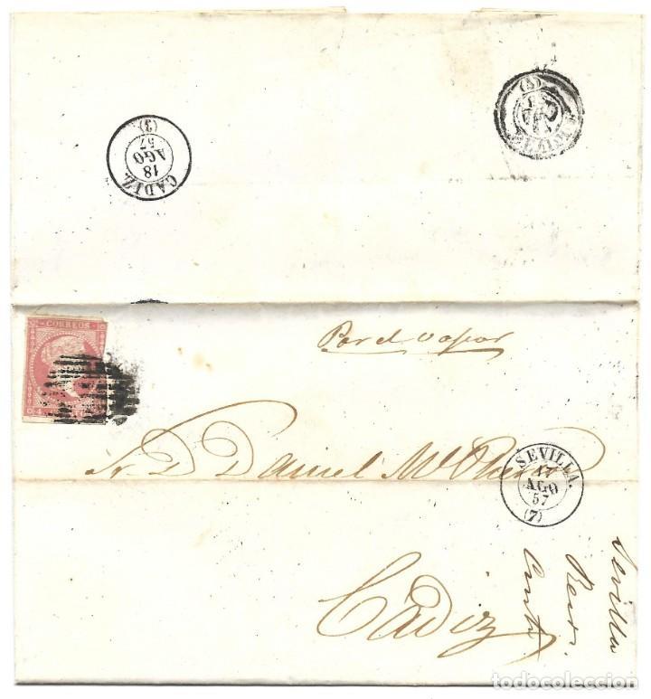 1857 CARTA DE SEVILLA A CÁDIZ. ISABEL II 1856-59 CORREO MARÍTIMO. POR VAPOR (Sellos - España - Isabel II de 1.850 a 1.869 - Cartas)