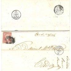 Sellos: 1857 CARTA DE SEVILLA A CÁDIZ. ISABEL II 1856-59 CORREO MARÍTIMO. POR VAPOR. Lote 268187824