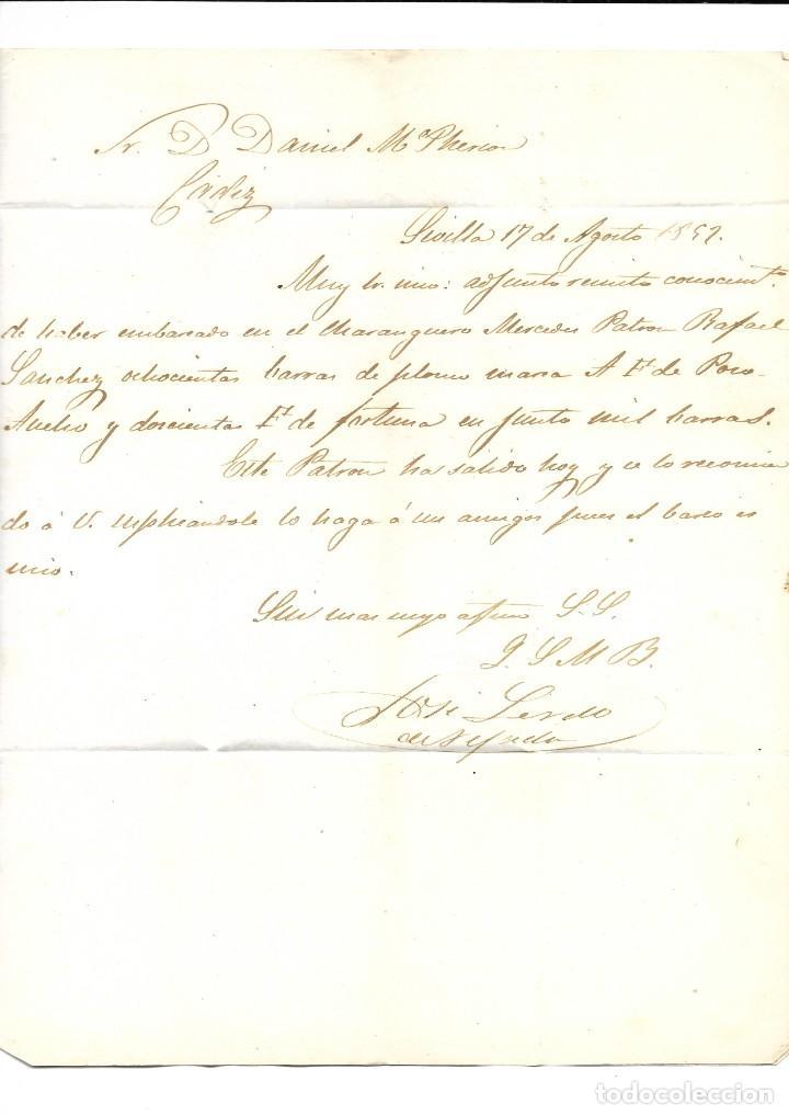 Sellos: 1857 CARTA DE SEVILLA A CÁDIZ. ISABEL II 1856-59 CORREO MARÍTIMO. POR VAPOR - Foto 2 - 268187824