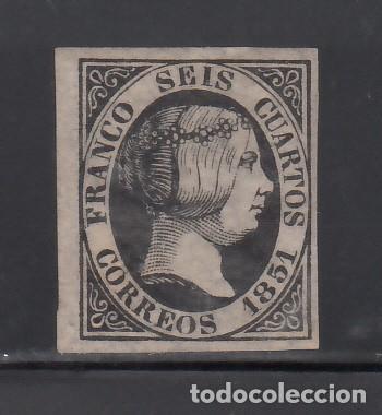 ESPAÑA, 1851 EDIFIL Nº 6 /*/, 6 CU. NEGRO, ISABEL II. (Sellos - España - Isabel II de 1.850 a 1.869 - Nuevos)
