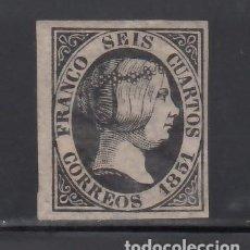Sellos: ESPAÑA, 1851 EDIFIL Nº 6 /*/, 6 CU. NEGRO, ISABEL II.. Lote 268409604