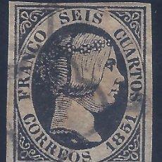 Francobolli: EDIFIL 6. ISABEL II. AÑO 1851. (VARIEDAD...ROTA LA I DE SEIS POR LA PARTE INFERIOR).. Lote 268458609