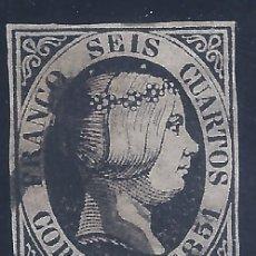 Francobolli: EDIFIL 6. ISABEL II. AÑO 1851. (VARIEDAD...ROTA LA I DE SEIS Y DOS PUNTOS SOBRE LA EFIGIE) .. Lote 268462764