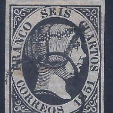 Francobolli: EDIFIL 6. ISABEL II. AÑO 1851. EXCELENTE MATASELLOS DE ARAÑA NEGRA.. Lote 268464324