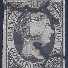 Francobolli: EDIFIL 6. ISABEL II. AÑO 1851. DOBLE MATASELLOS DE ARAÑA NEGRA.. Lote 268464584