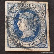 Sellos: ESPAÑA, 1864, ISABEL II, EDIFIL 68, MATASELLO RUEDA DE CARRETA, BUENOS MÁRGENES, ( LOTE AR ). Lote 269098948