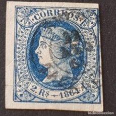 Sellos: ESPAÑA, 1864, ISABEL II, EDIFIL 68, MATASELLO FECHADOR, DOBLECES,( LOTE AR ). Lote 269099403