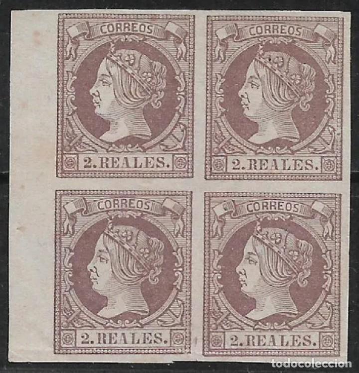 Sellos: ESPAÑA 1860 EDIFIL 56 EN BLOQUE DE 4 NUEVO SIN GOMA CERTIFICADO C.M.F. 6500 € - 18/28 - Foto 2 - 202385343