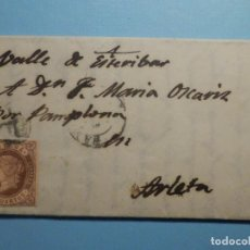 Sellos: CARTA AÑO 1862 - VALLE DE ESTERIBAR - PAMPLONA - MARÍA OSCARIZ - 4 CUARTOS - EDIFIL 58 TIPO II. Lote 270251293