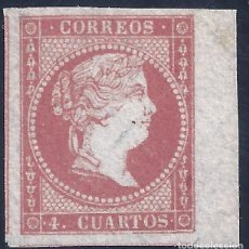 Sellos: EDIFIL 44 ISABEL II. AÑO 1855. PAPEL FILIGRANA LINEAS CRUZADAS. MNG. (SALIDA: 0,01 €).. Lote 270695658
