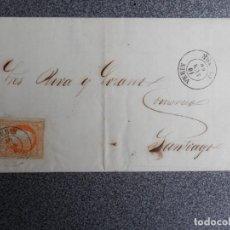 Sellos: CARTA AÑO 1860 FECHADOR VERÍN ORENSE SOBRE EDIFIL 52 Y LLEGADA SANTIAGO A CORUÑA. Lote 271967933