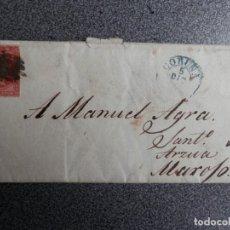 Sellos: CARTA AÑO 1857 FECHADOR CORUÑA A MAROXO ARZUA EDIFIL 40 PAPEL AZULADO. Lote 272062618