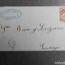 Sellos: CARTA AÑO 1868 FECHADOR CORUÑA Y SANTIAGO MATASELLO PARRILLA CON CIFRA EDIFIL 96. Lote 272062948
