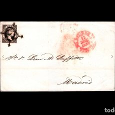 Sellos: ESPAÑA -1851 - ENVUELTA EDIFIL 6 - MATASELLOS ARAÑA - FECHADOR ROJO BILBAO Y DE LLEGADA MADRID. Lote 275535888