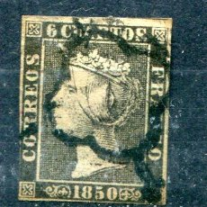 Francobolli: EDIFIL 1 A. 6 CUARTOS 1850. PRIMER SELLO DE ESPAÑA. MATASELLADO.. Lote 275660313