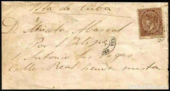 CARTA EDIFIL 99 TORRELAVEGA-CUBA (Sellos - España - Isabel II de 1.850 a 1.869 - Cartas)