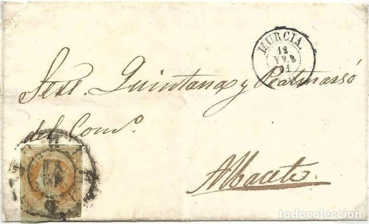 12/02/1861.MURCIA A ALBACETE, EDIFIL 52 MAT. RUEDA CARRETA 11 MURCIA (Sellos - España - Isabel II de 1.850 a 1.869 - Cartas)