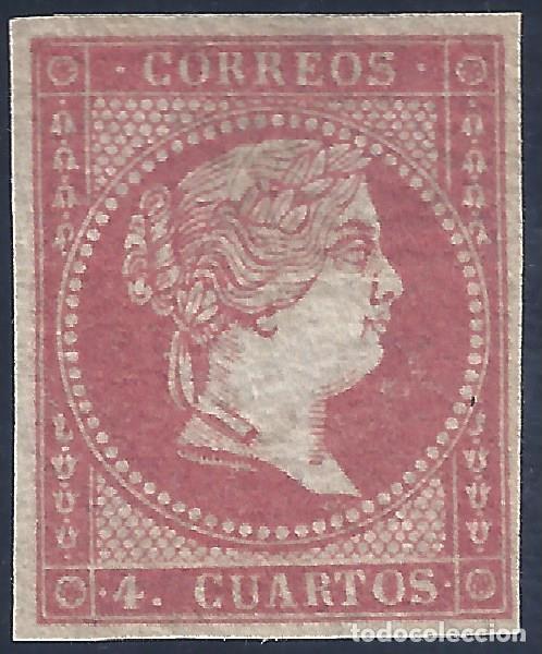 EDIFIL 44 ISABEL II. AÑO 1855. PAPEL FILIGRANA LINEAS CRUZADAS. MNG. (SALIDA: 0,01 €). (Sellos - España - Isabel II de 1.850 a 1.869 - Nuevos)