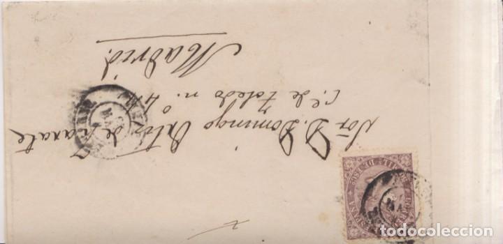 AÑO 1868 EDIFIL98 50M ISABEL II ENVUELTA MATASELLOS LINARES JAEN DEFECTO MES INVERTIDO (Sellos - España - Isabel II de 1.850 a 1.869 - Cartas)