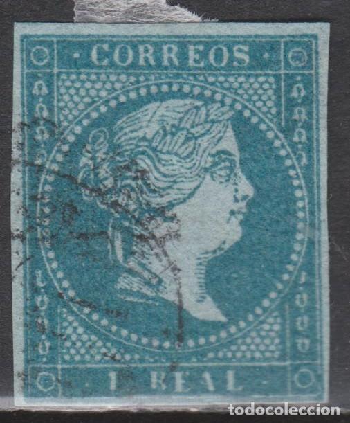 1855 ISABEL II. 1 REAL USADO FILIGRANA LAZOS. MUY BONITO (Sellos - España - Isabel II de 1.850 a 1.869 - Usados)
