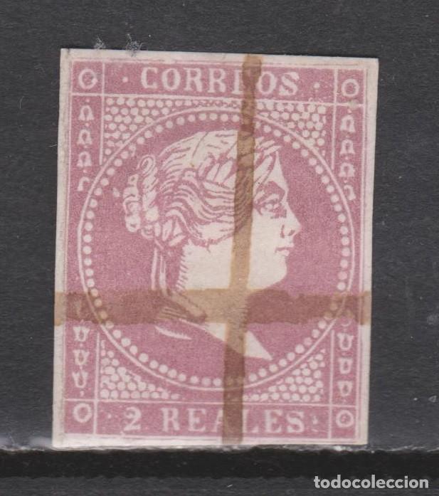 1855 ISABEL II. 2 REALES USADO INUTILIZADO A PLUMA. BONITO (Sellos - España - Isabel II de 1.850 a 1.869 - Usados)