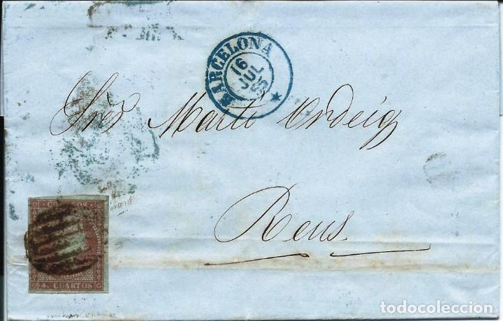 CARTA CIRCULADA EN 1855 DE BARCELONA A REUS (Sellos - España - Isabel II de 1.850 a 1.869 - Cartas)